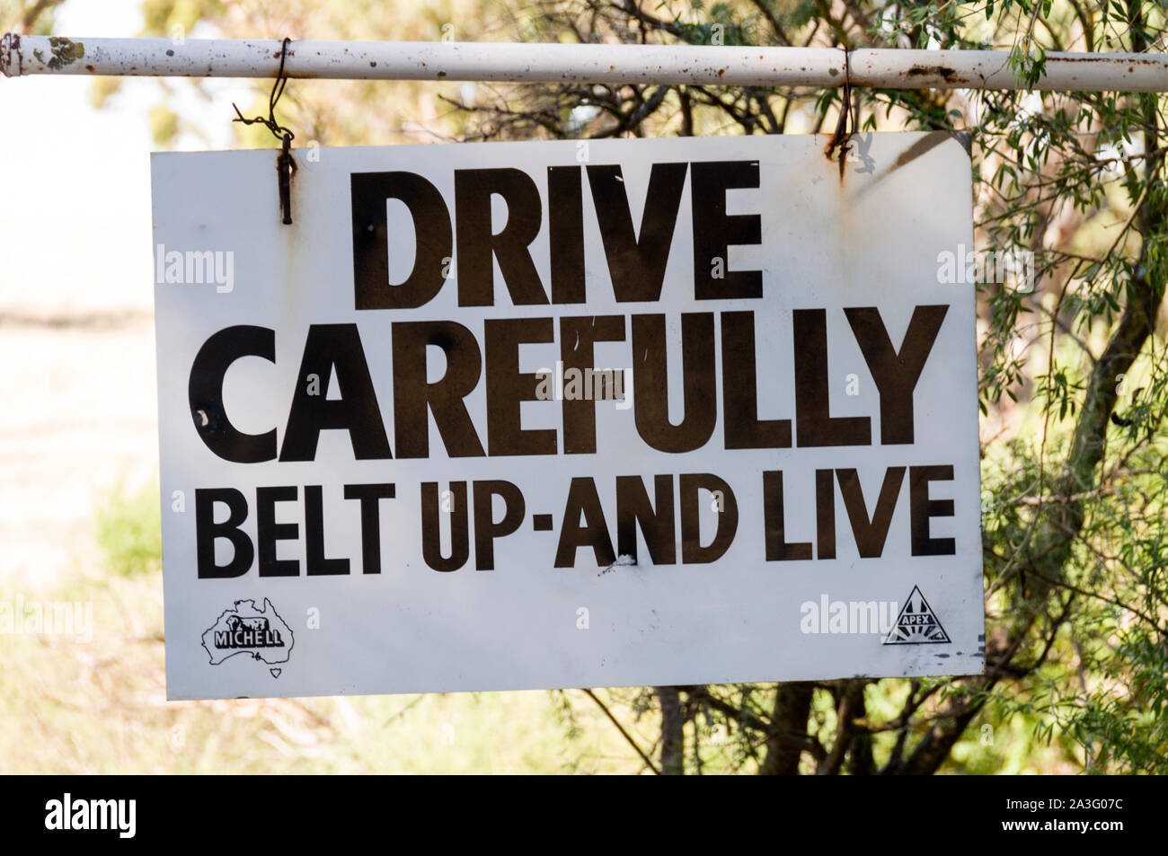 A gate notice for motorists in the Barossa Valley wine region in South Australia.   There are about 150 wineries in the Barossa Valley wine region, an Stock Photo