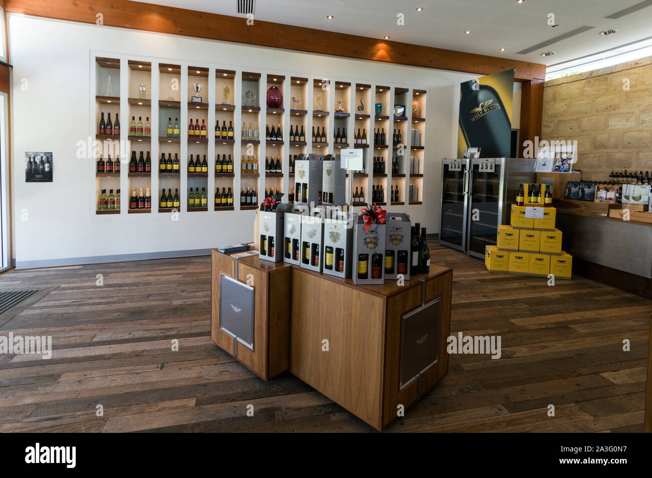 Bottles of wines on sale and display at the Wolf Blass winery visitors centre in the Barossa Valley wine region in South Australia.   There are about Stock Photo