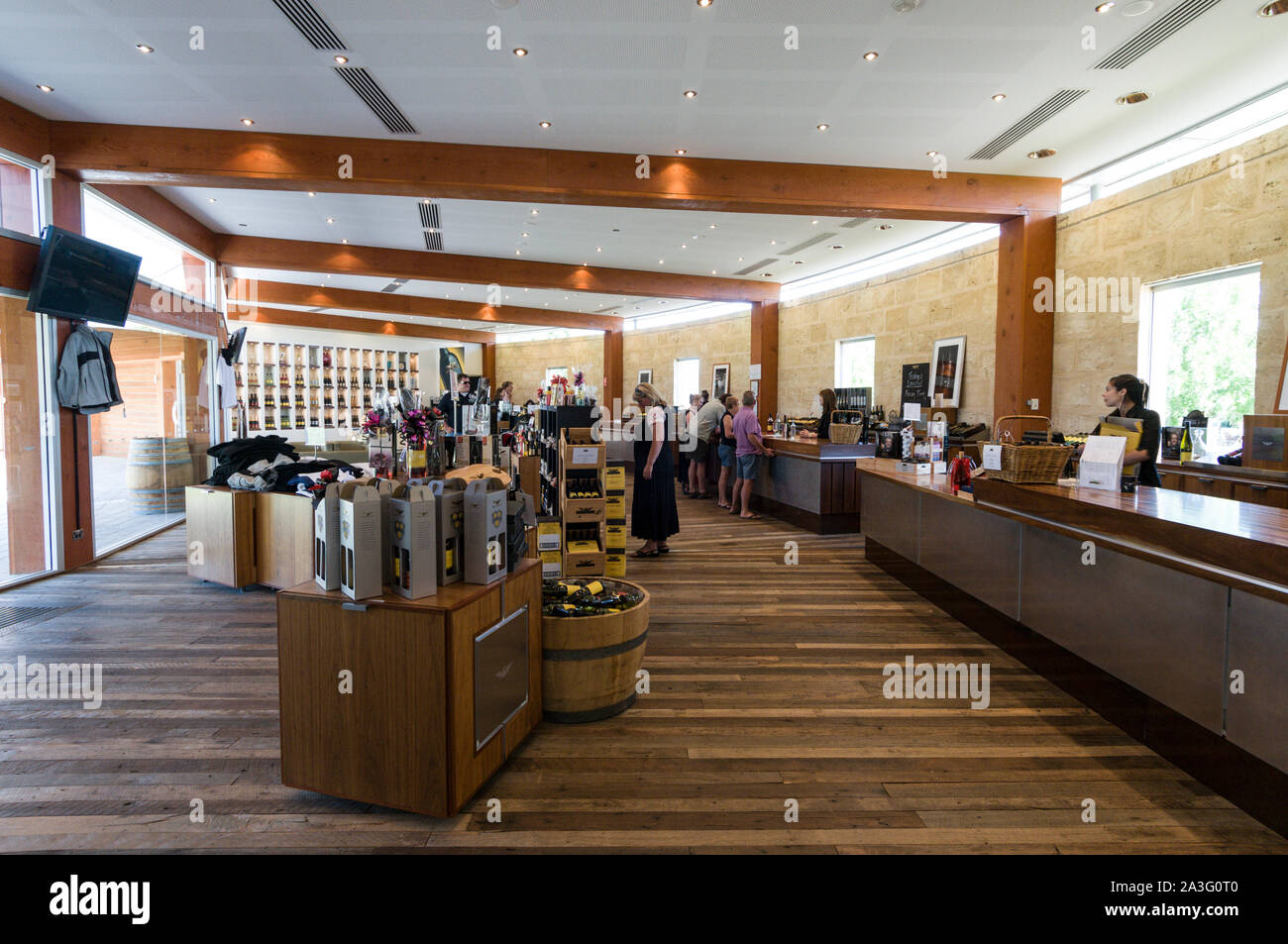 Bottles of wines on sale and wine tasting at the Wolf Blass winery visitors centre in the Barossa Valley wine region in South Australia.   There are a Stock Photo