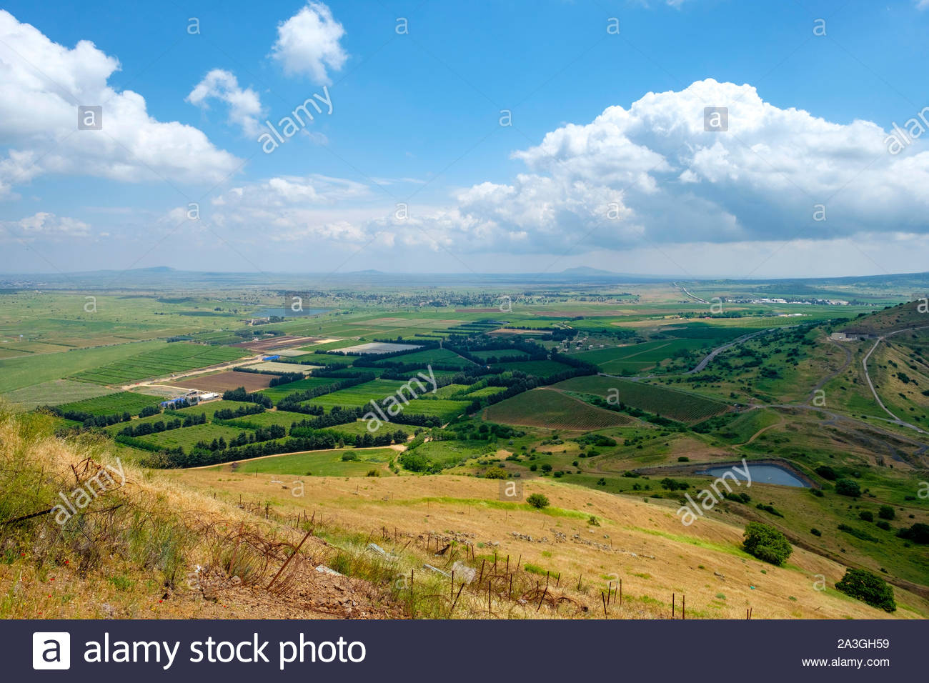View from Mount Avital / Tall Abu an Nada, overlooking the DMZ and Syrian territory, northern Golan Heights. Stock Photo