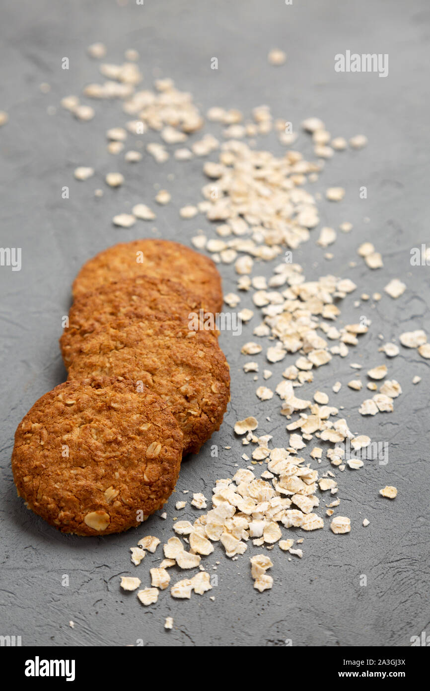 Cereal cookies on a concrete background, low angle view. Close-up. Stock Photo