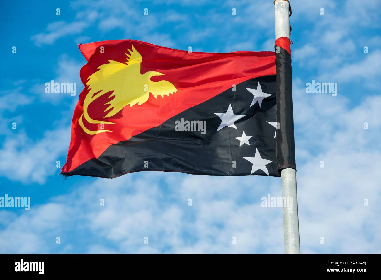 Papua-New-Guinea, Gulf Papua area, National Capital District area, Port Moresby town, official flag of the country Stock Photo