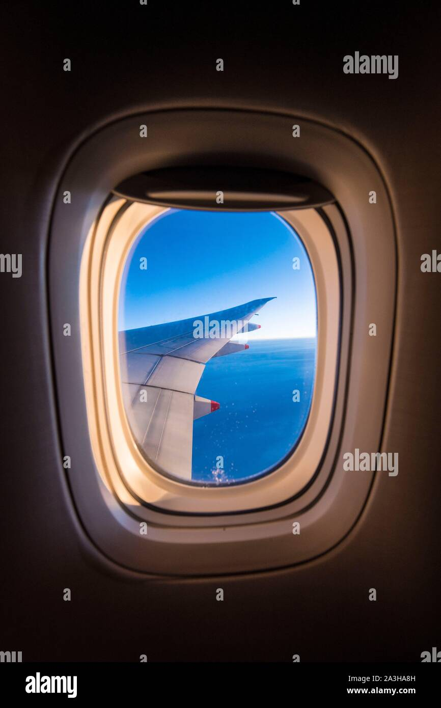 Singapour, flying over Java sea in a international flight Stock Photo