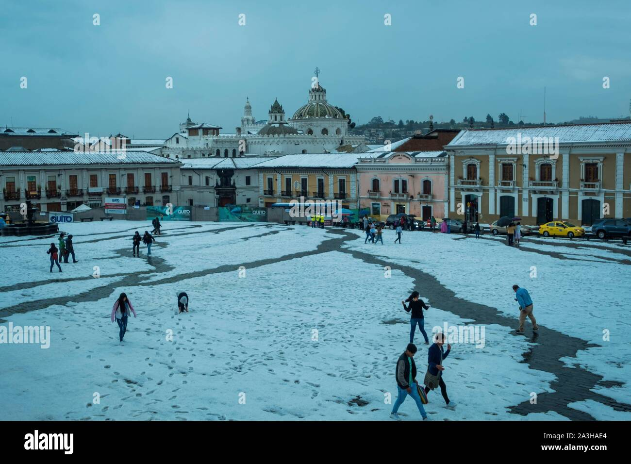 Ecuador, Quito, registered World Heritage by UNESCO, San Francisco place under snow Stock Photo