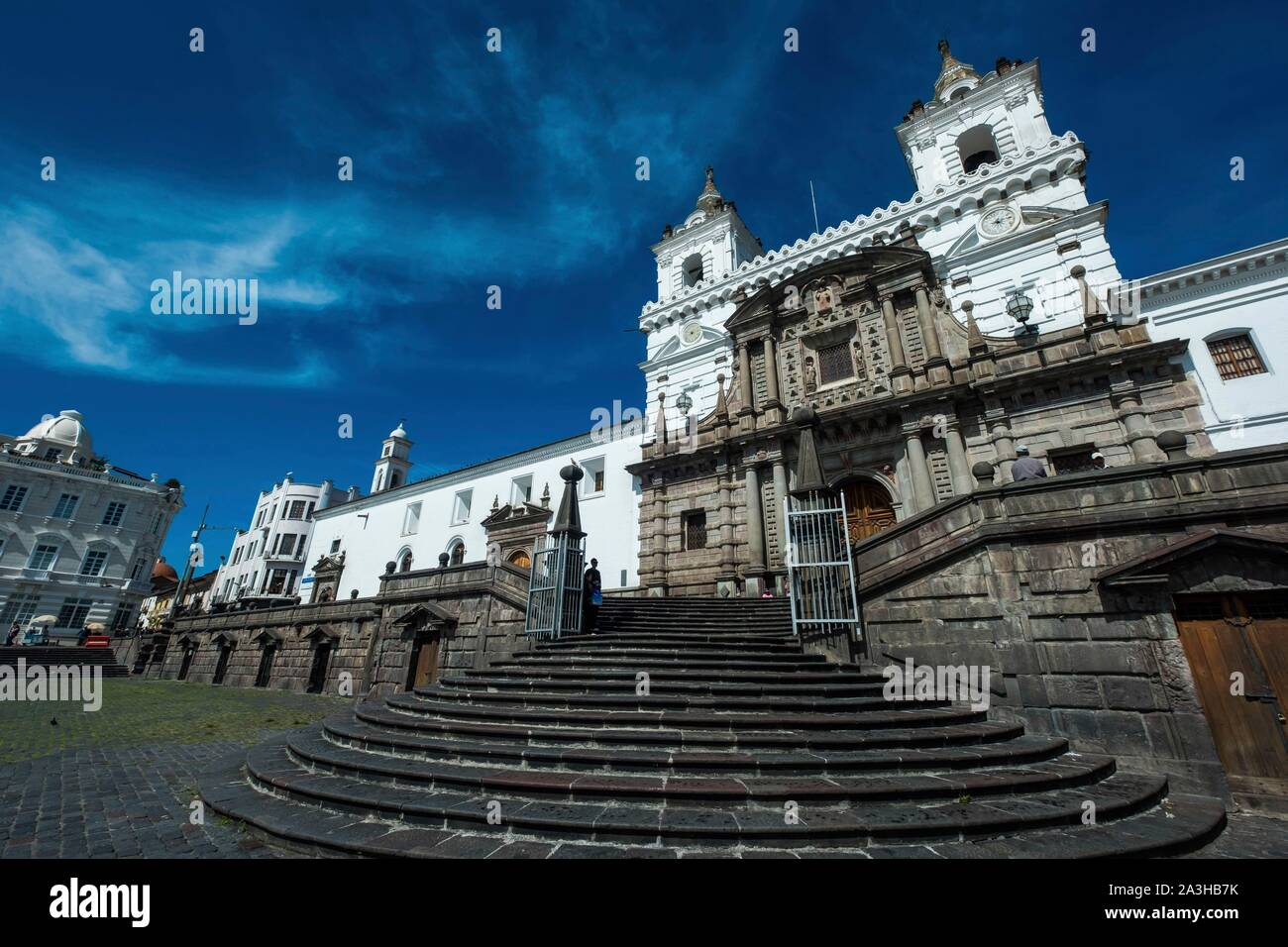 Ecuador, Quito, registered World Heritage by UNESCO, San Francisco place and church Stock Photo