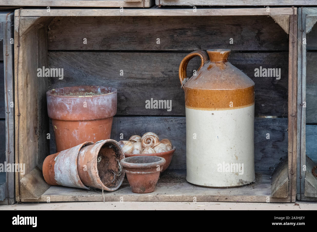 Stoneware jar and terracotta plant pots in a wooden crate shelf display at the RHS Malvern Autumn Show, Worcestershire, UK Stock Photo