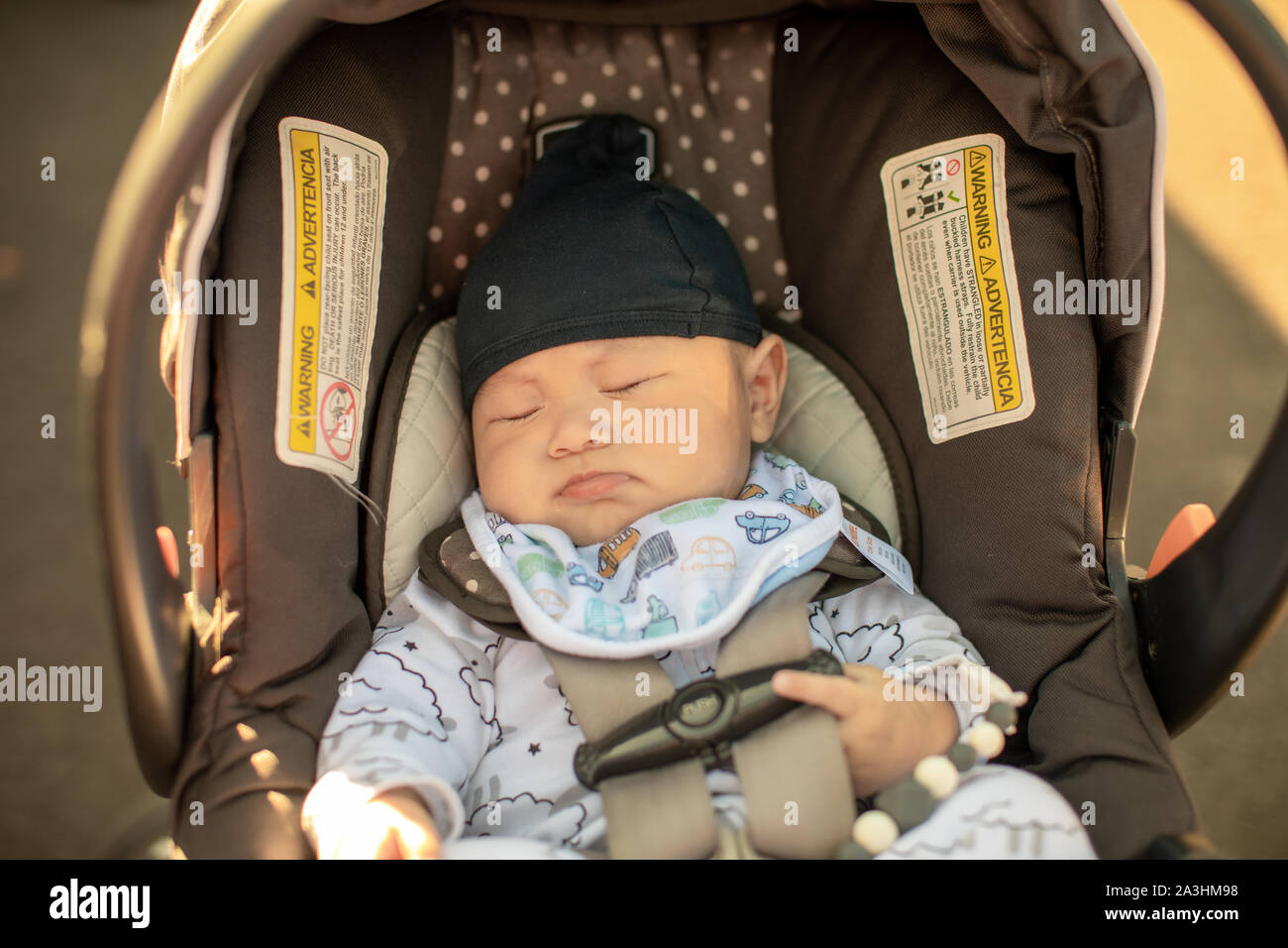 Picture of: Cute Little Baby Boy Sleeping In Infant Car Seat Stock Photo Alamy