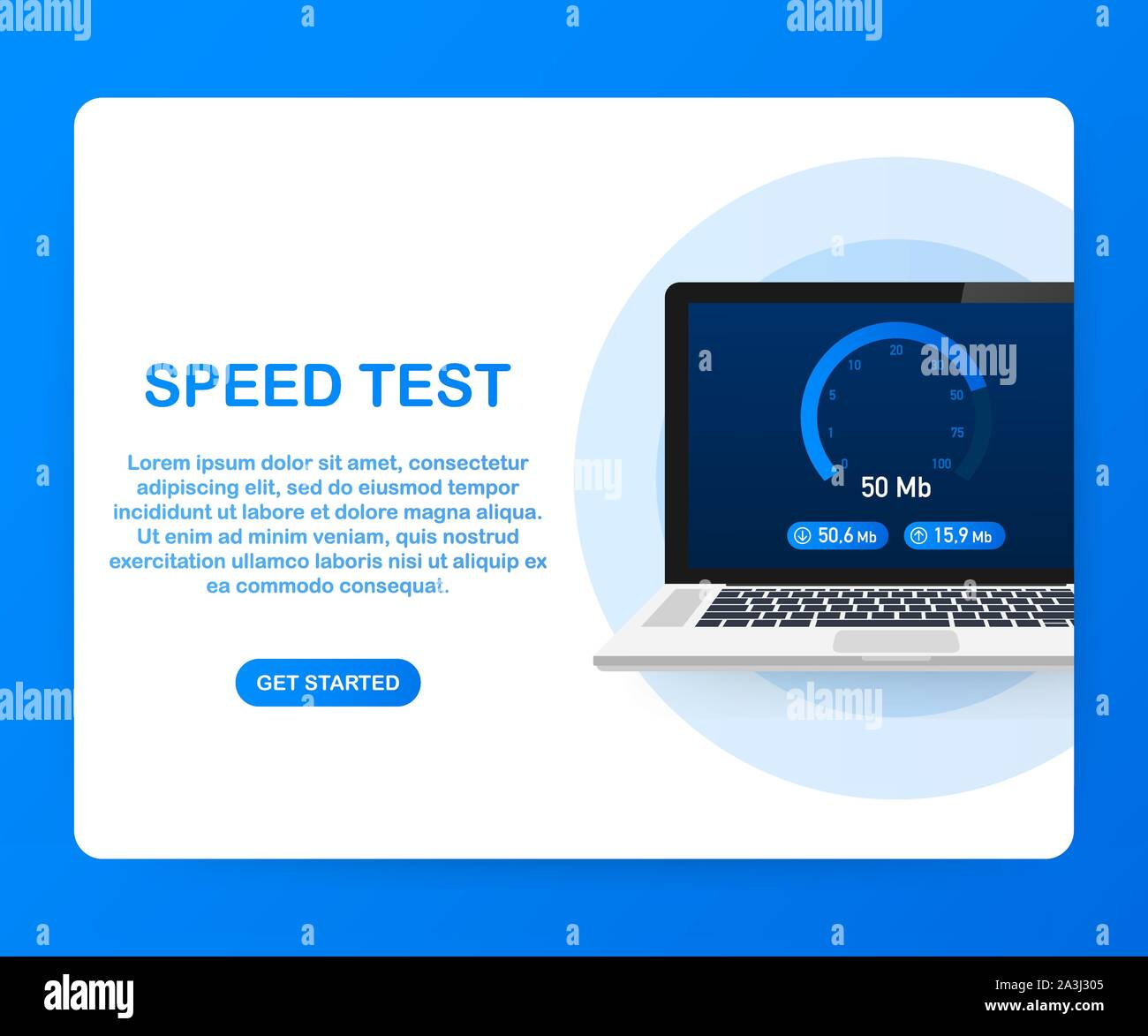 Speed Test On Laptop Speedometer Internet Speed 100 Mb Website Speed Loading Time Vector Stock Illustration Stock Vector Image Art Alamy