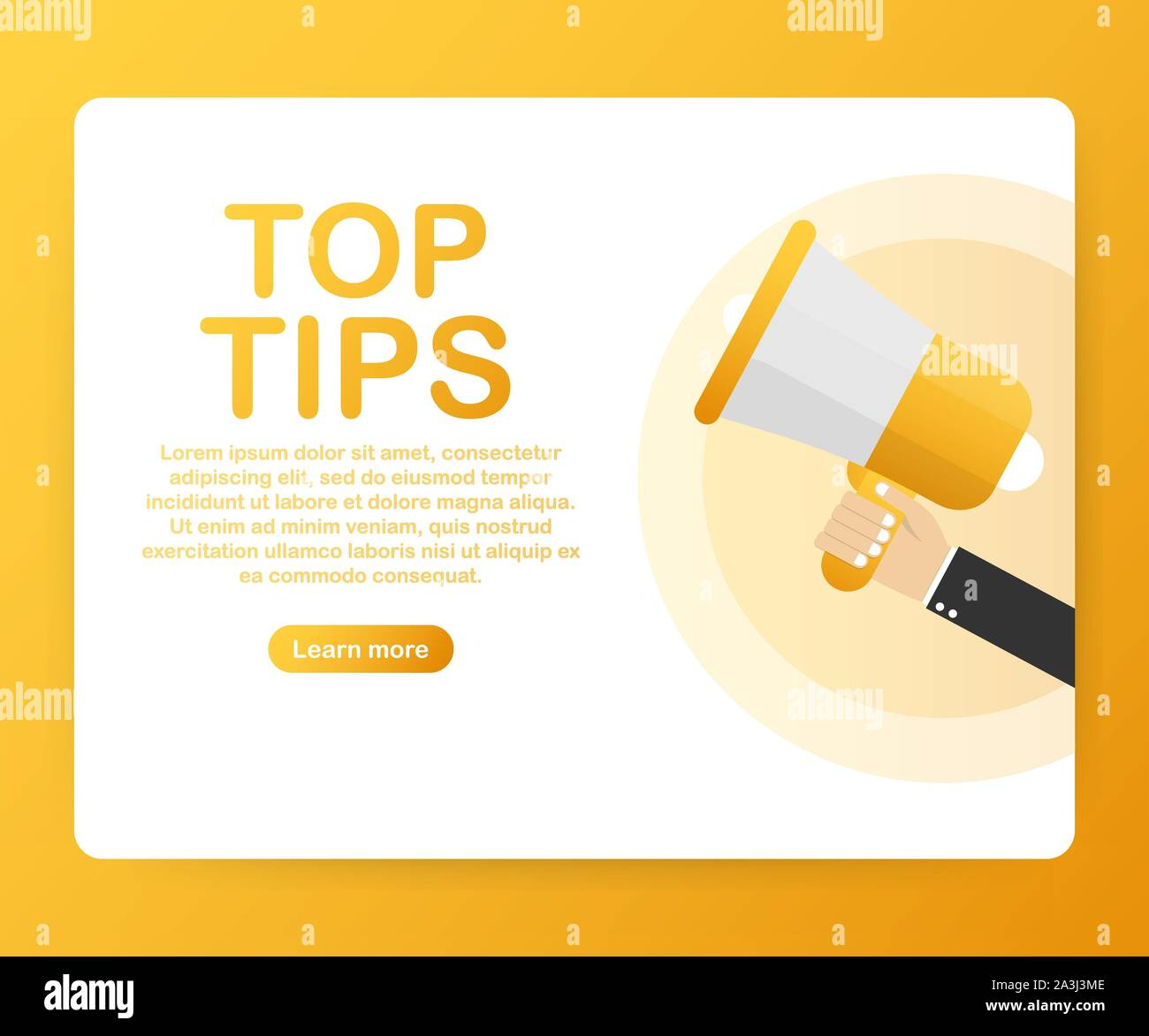 male hand holding megaphone with top tips speech bubble loudspeaker vector stock illustration stock vector image art alamy alamy