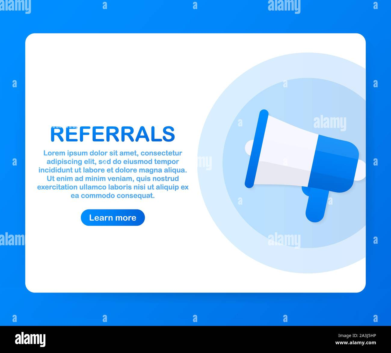 Megaphone Hand, business concept with text referrals. Vector stock illustration Stock Vector
