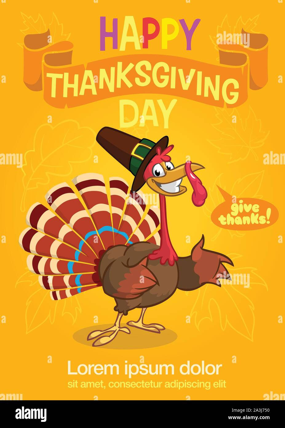 Turkey Bird Cartoon Character Waving With Speech Bubble And Text. Vector Illustration for Party Invitation Stock Vector