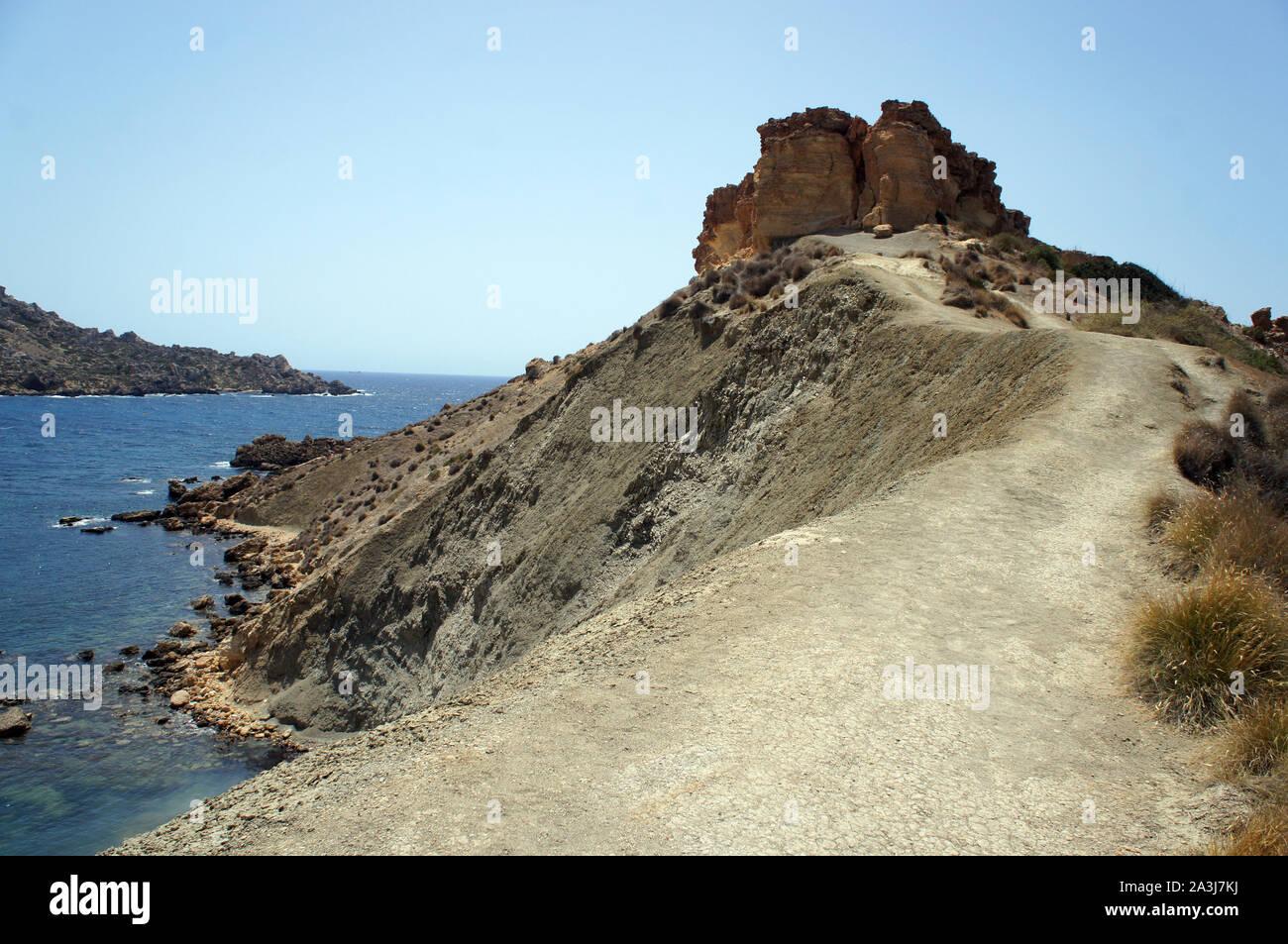 Panorama of Gnejna Bay shore, Golden Bay, Malta Stock Photo