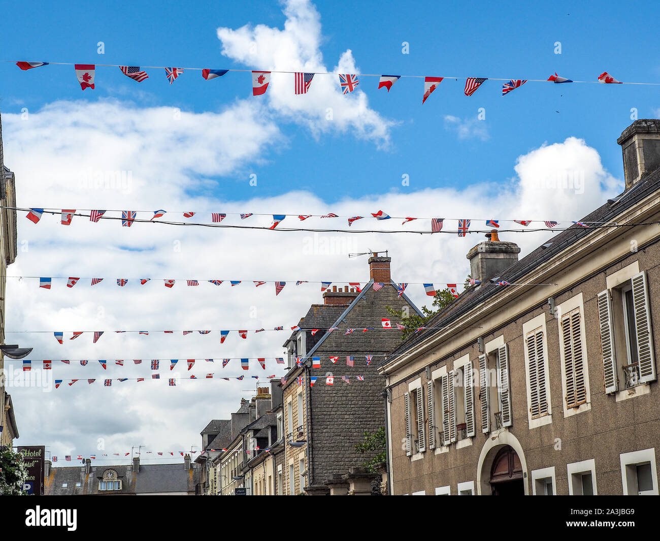 Allied flags flying over Normandy villages celebrating the 75th anniversary of the Normandy invasion. Stock Photo