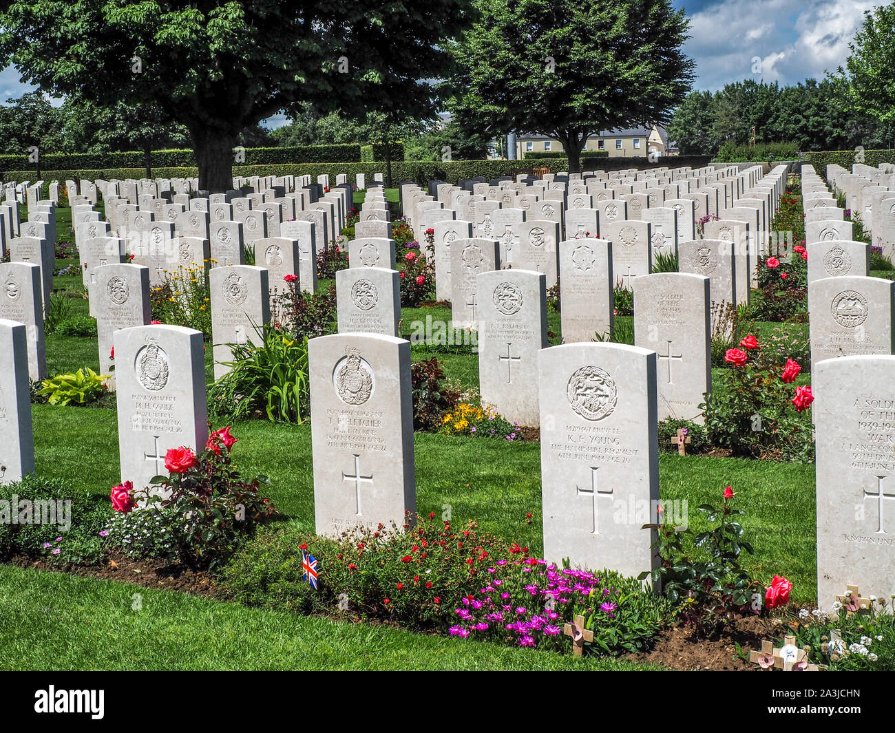 WWII British Cemetery in Bayeux, France. Stock Photo