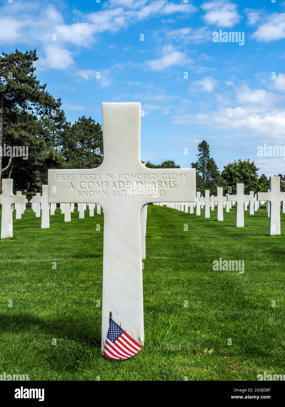 Grave of unknown soldier at Normandy American Cemetery on 75th Anniversary of Normandy Invasion. Stock Photo