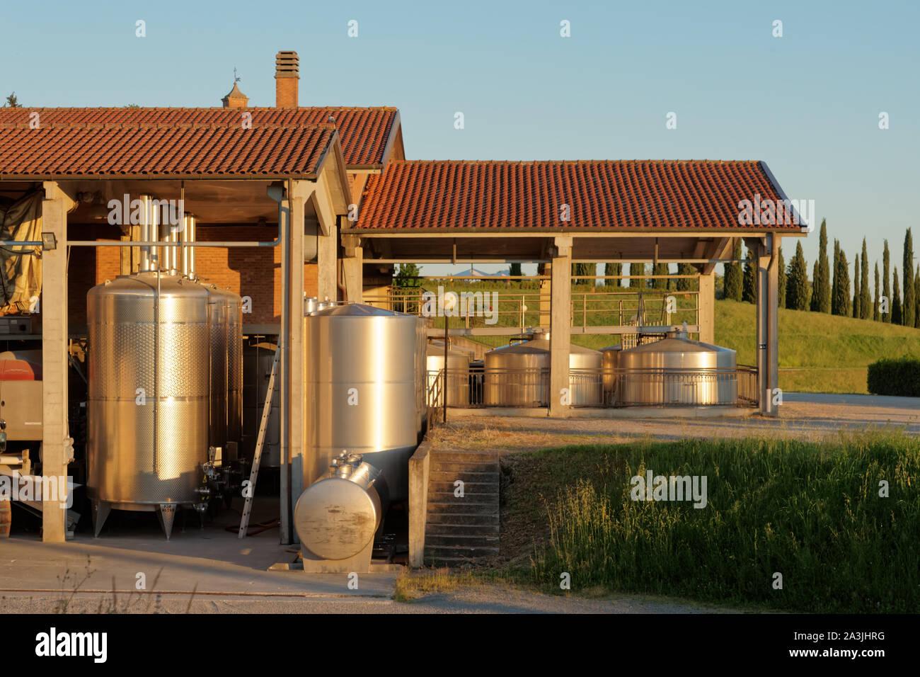 Winery equipment shot an sunset Stock Photo