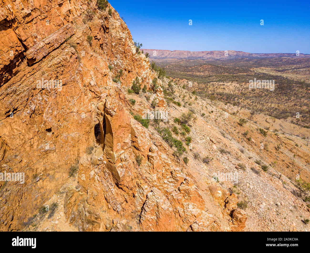 Aerial view of Simpsons Gap and surrounds in the Northern Territory, Australia. Stock Photo