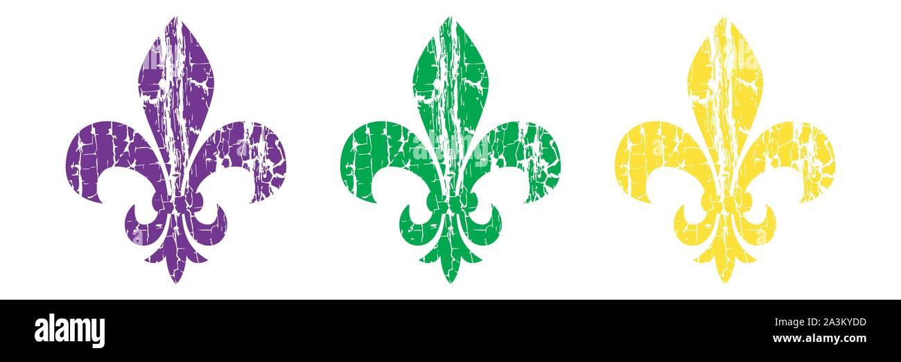 Fleur De Lis Set Heraldic Lily Mardi Gras Symbol Grunge Background Stock Vector Image Art Alamy