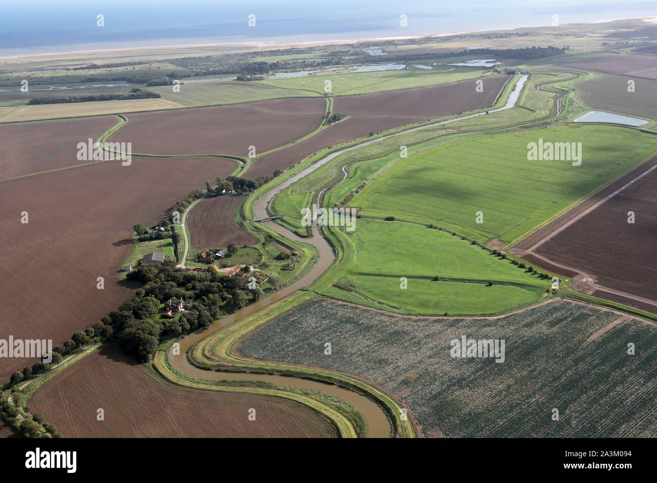 aerial view looking south east along Steeping River towards Gibraltar Point Nature Reserve, Lincolnshire Stock Photo
