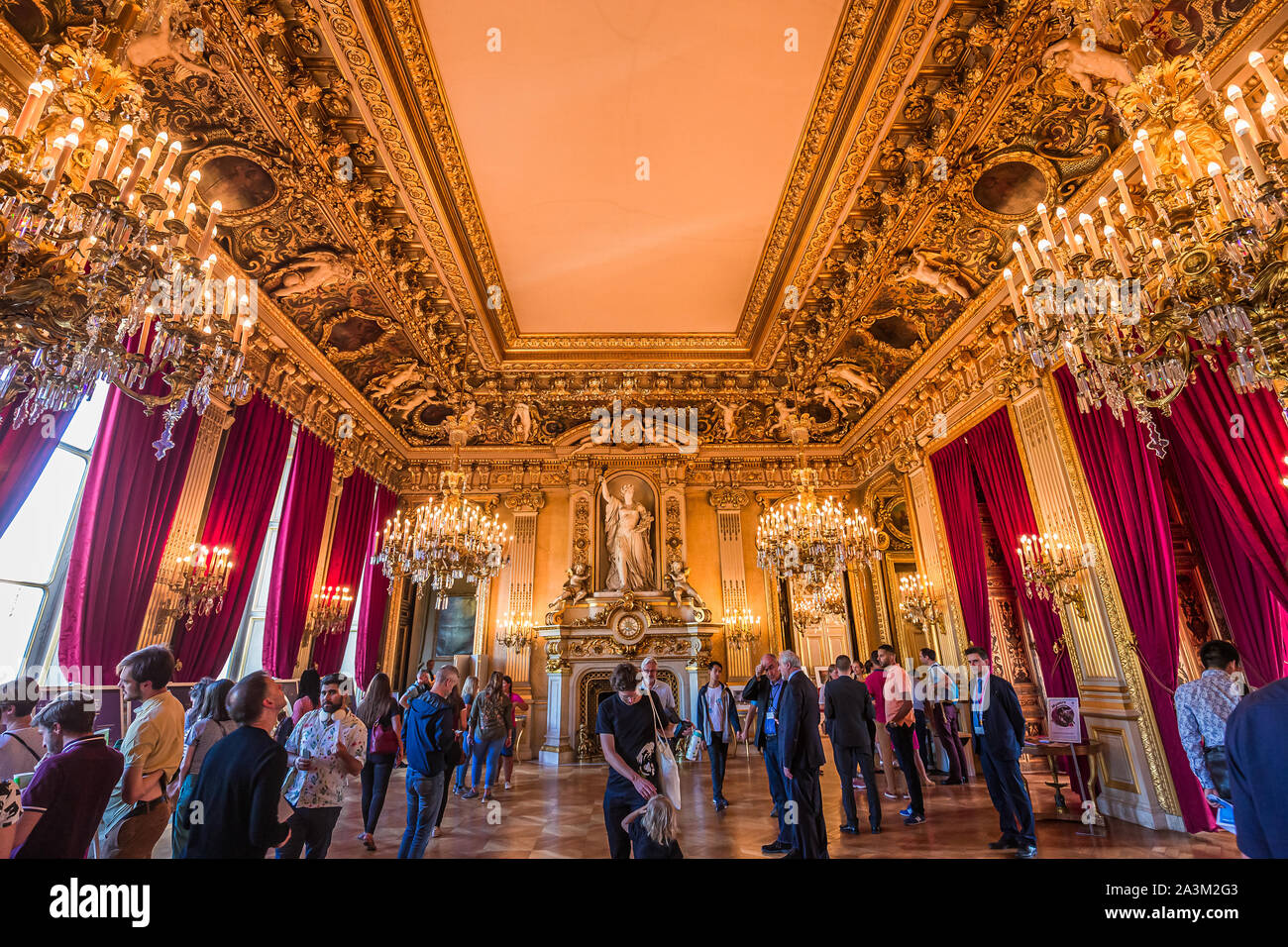 PARIS, FRANCE, SEPTEMBER 21, 2019 : interiors and decors of ministry of foreign affairs, quai d'Orsay, september 21, 2019, in Paris, France Stock Photo