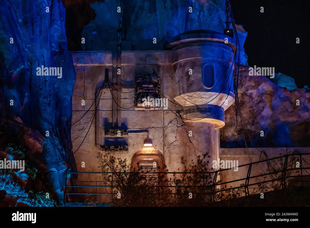 Orlando, Florida. September 27, 2019. Partial view of Star Wars Galaxys Edge at night in Hollywood Studios Stock Photo