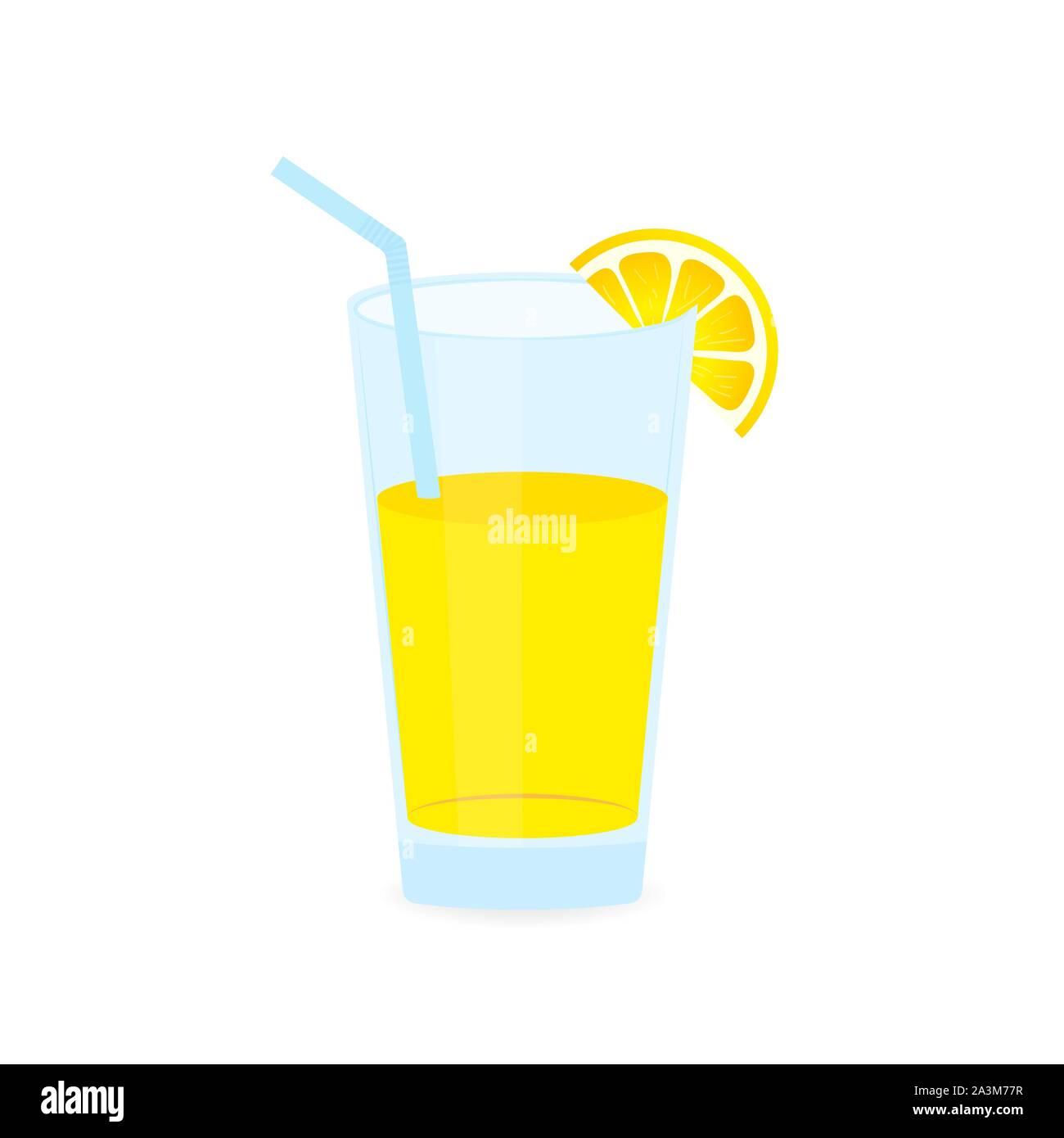 Icon of drink with fruit. Lemon juice on white background. Vector stock illustration. Stock Vector