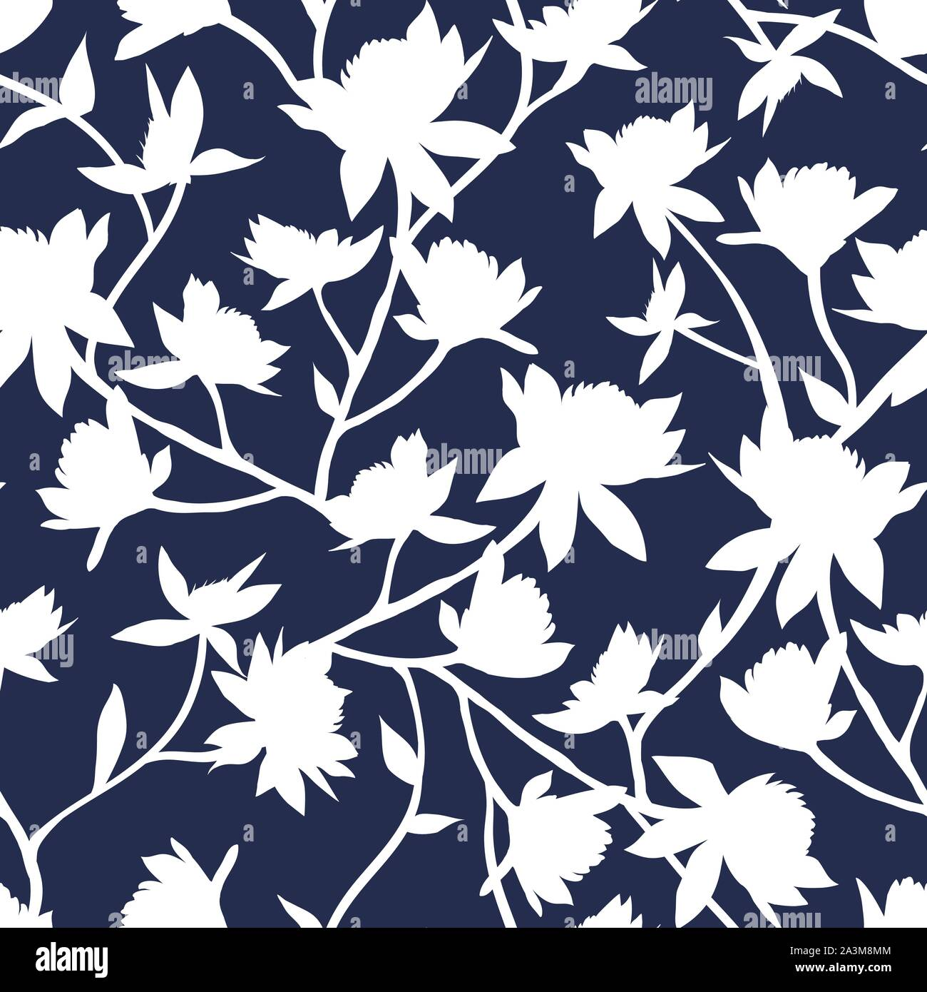 Clover Flowers Seamless Vector Pattern White Silhouettes On Dark