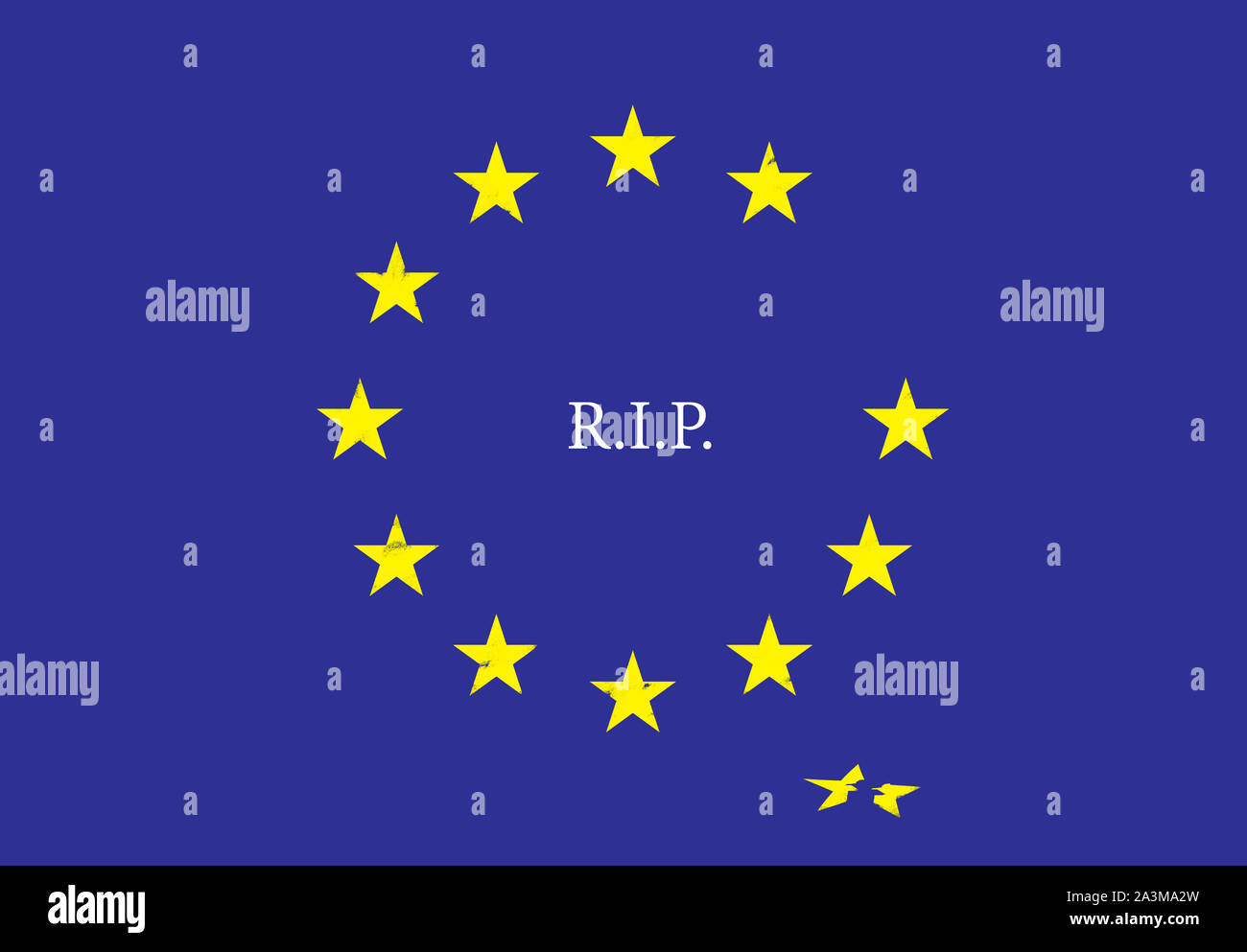 An illustration about Brexit. A flag of European Union. R.I.P. Stock Photo