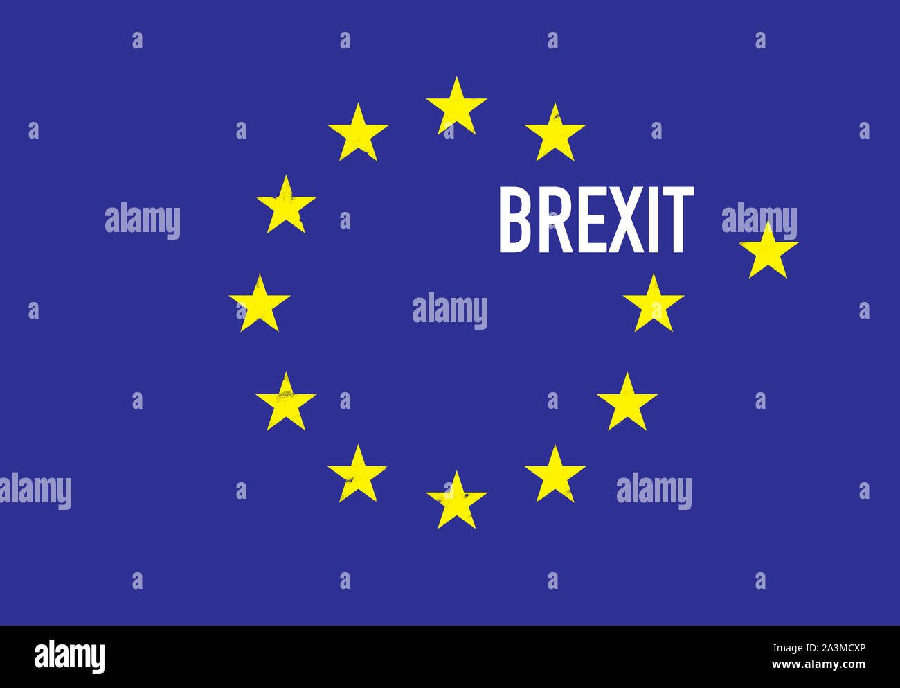 An illustration about Brexit. A flag of European Union. Stock Photo