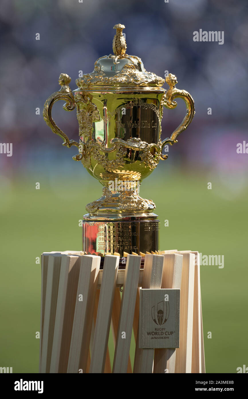 Saitama Japan 9th Oct 2019 The Rugby World Cup Trophy The Webb Ellis Cup On Display Prior To Starting The Rugby World Cup 2019 Pool C Match Between Argentina And Usa At