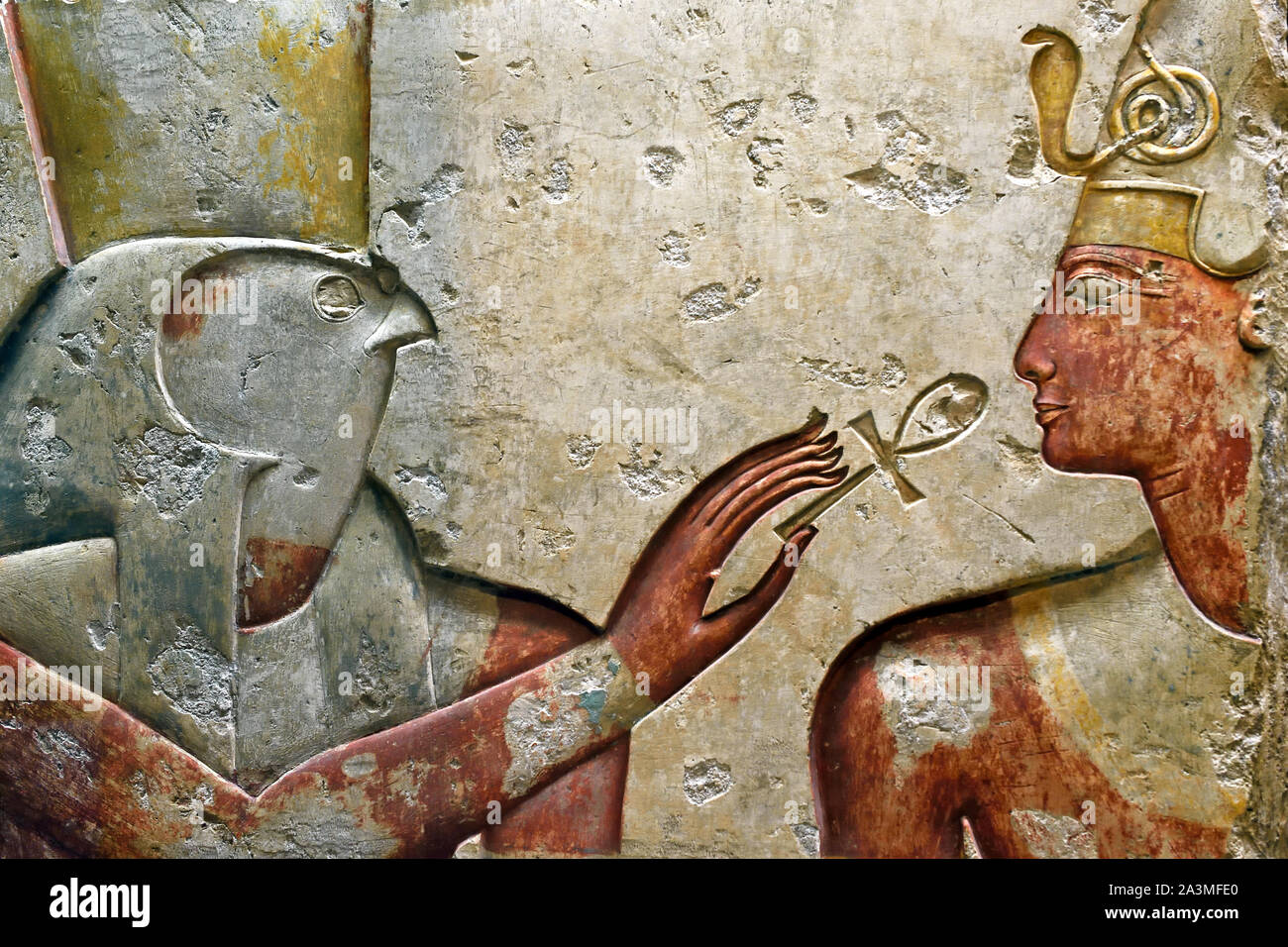 King Ramses II among the Gods 1275 BC from a small temple in  Abydos 19th Dynasty Egypt Egyptian Stock Photo