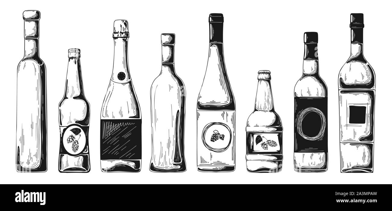 Different bottles with alcohol. Vector illustration in sketch style. Stock Vector