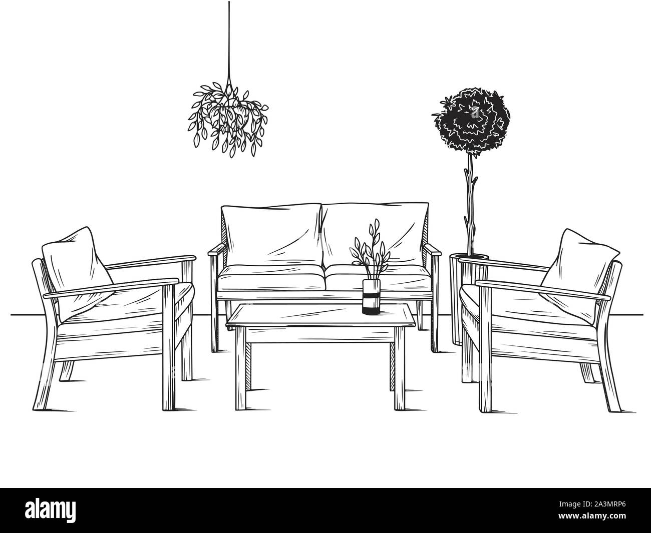 Set of furniture for the garden. Armchairs, sofa and table among the plants. Vector illustration in sketch style Stock Vector