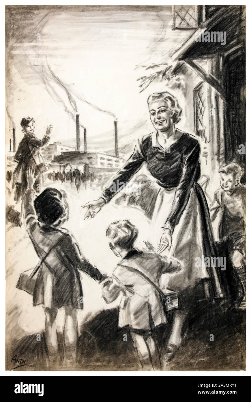 British, WW2, Child minding poster, If you can't go to the factory, help the neighbour who can, (woman off to work in factories leaves children with childminder) 1939-1946 Stock Photo