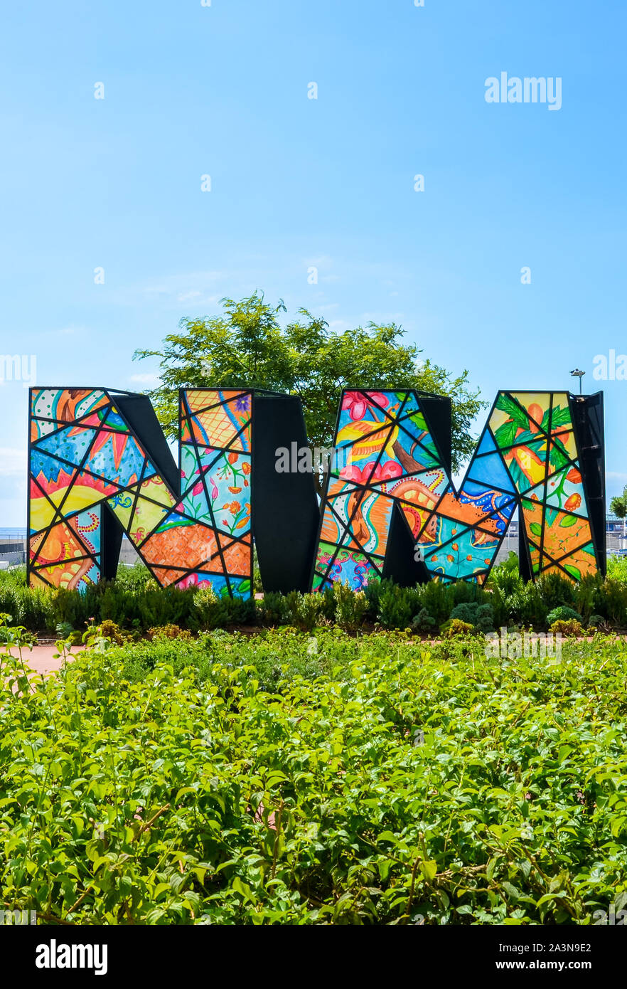 Funchal, Madeira, Portugal - Sep 10, 2019: Nelson Mandela Memorial in the Portuguese city, capital of Madeira. Colorful initials of the former South African leader. South Africa, president, politics. Stock Photo