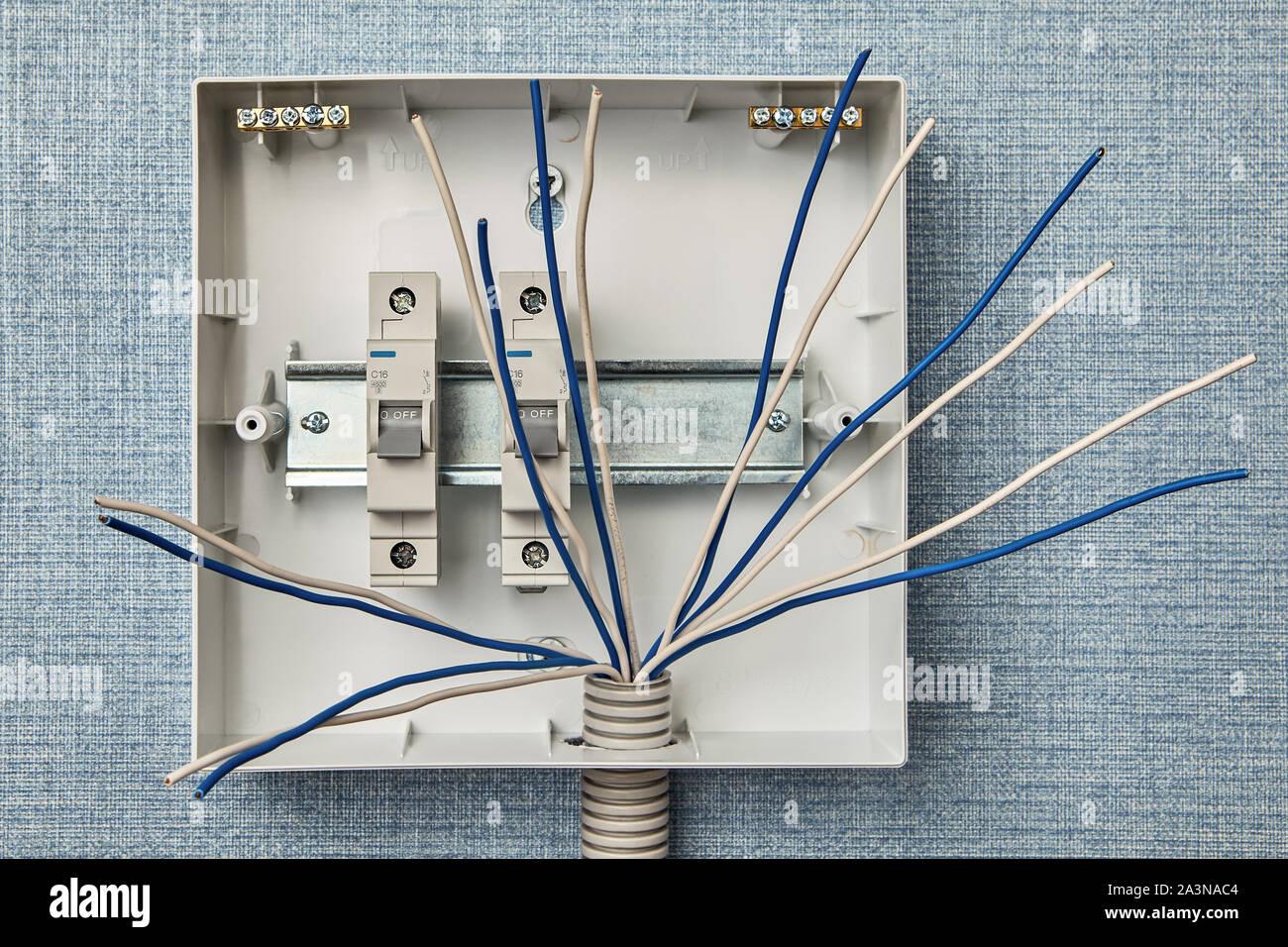 Home Electrical Wiring Switchboard Installation Installing A Fuseboard Or Circuit Breakers In A Household Electrical System Electricity Control Pan Stock Photo 329310132 Alamy