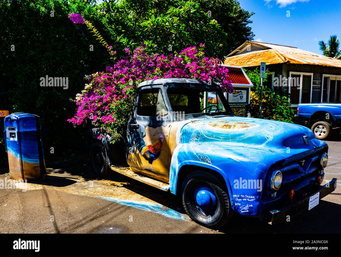 Vintage truck and gas pump, Hanapepe, Kauai, Hawaii Stock Photo