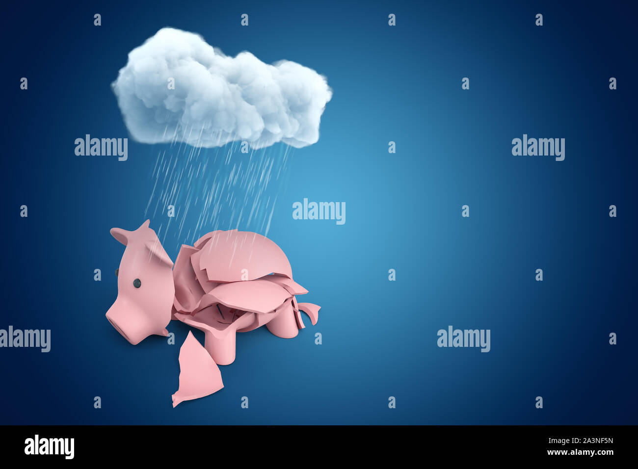 3d rendering of broken pink piggy bank under rainy white cloud on blue background Stock Photo