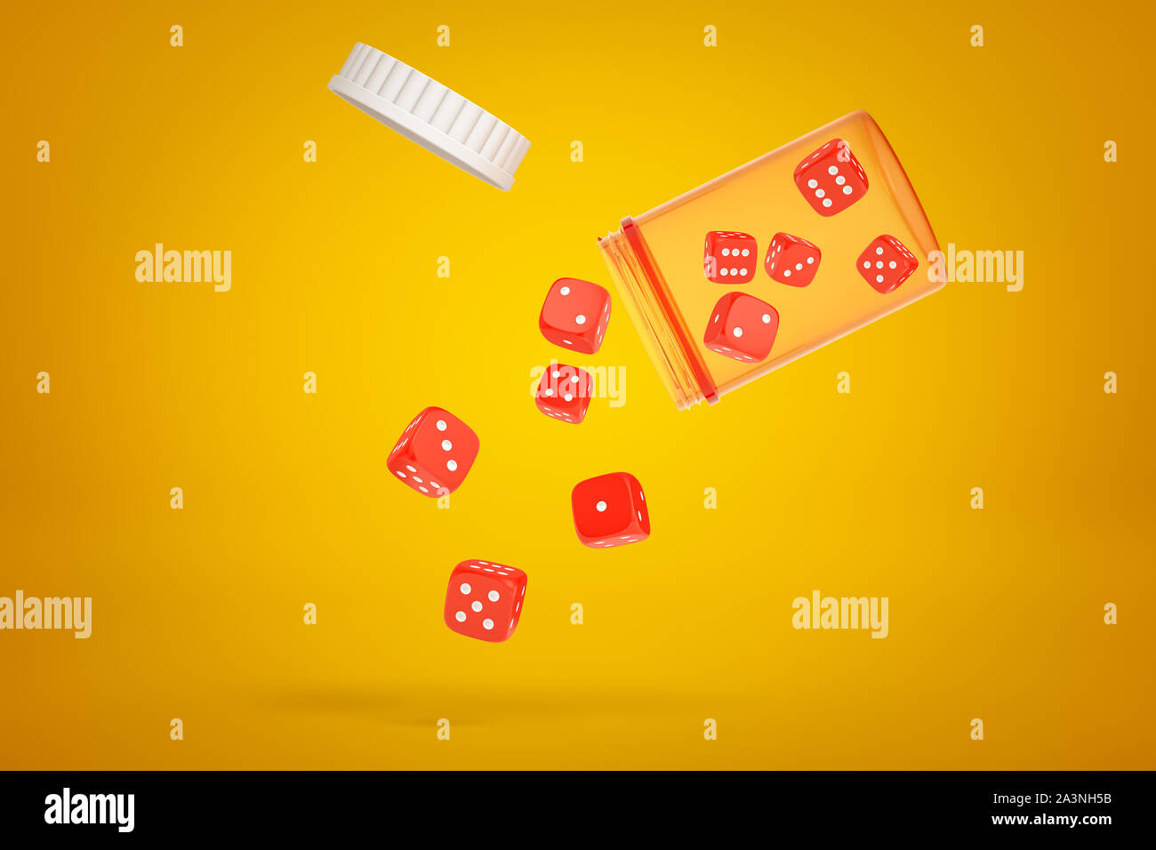 3d Rendering Of Red Casino Dice Falling From A Plastic Jar On Yellow Background Stock Photo Alamy