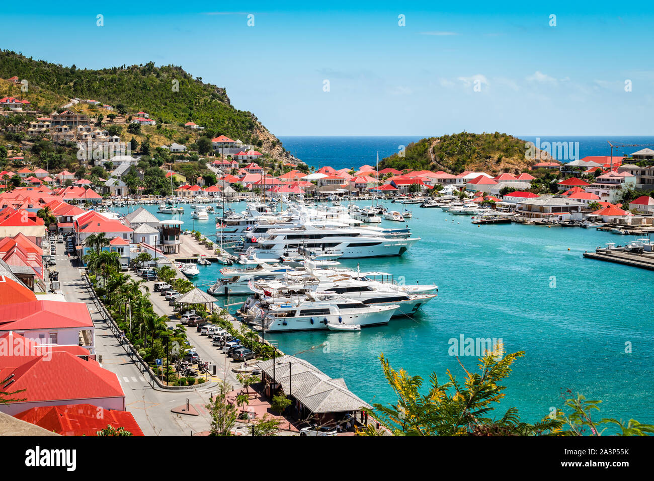 Gustavia, St Barts. Luxury yachts in harbor, West Indies, Caribbean. Stock Photo