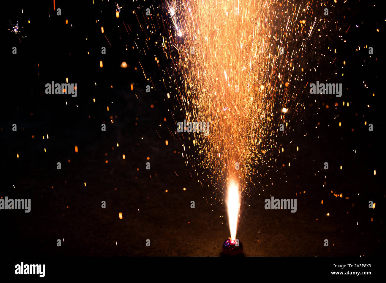 A sparkling fireworks during Celebration of Diwali In India Say no To Fireworks Stock Photo