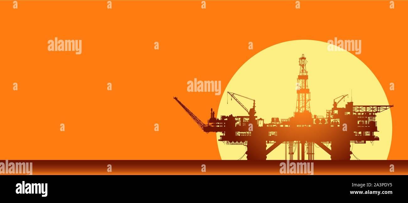 Sea oil rig. Offshore drilling platform on sunset Stock Vector