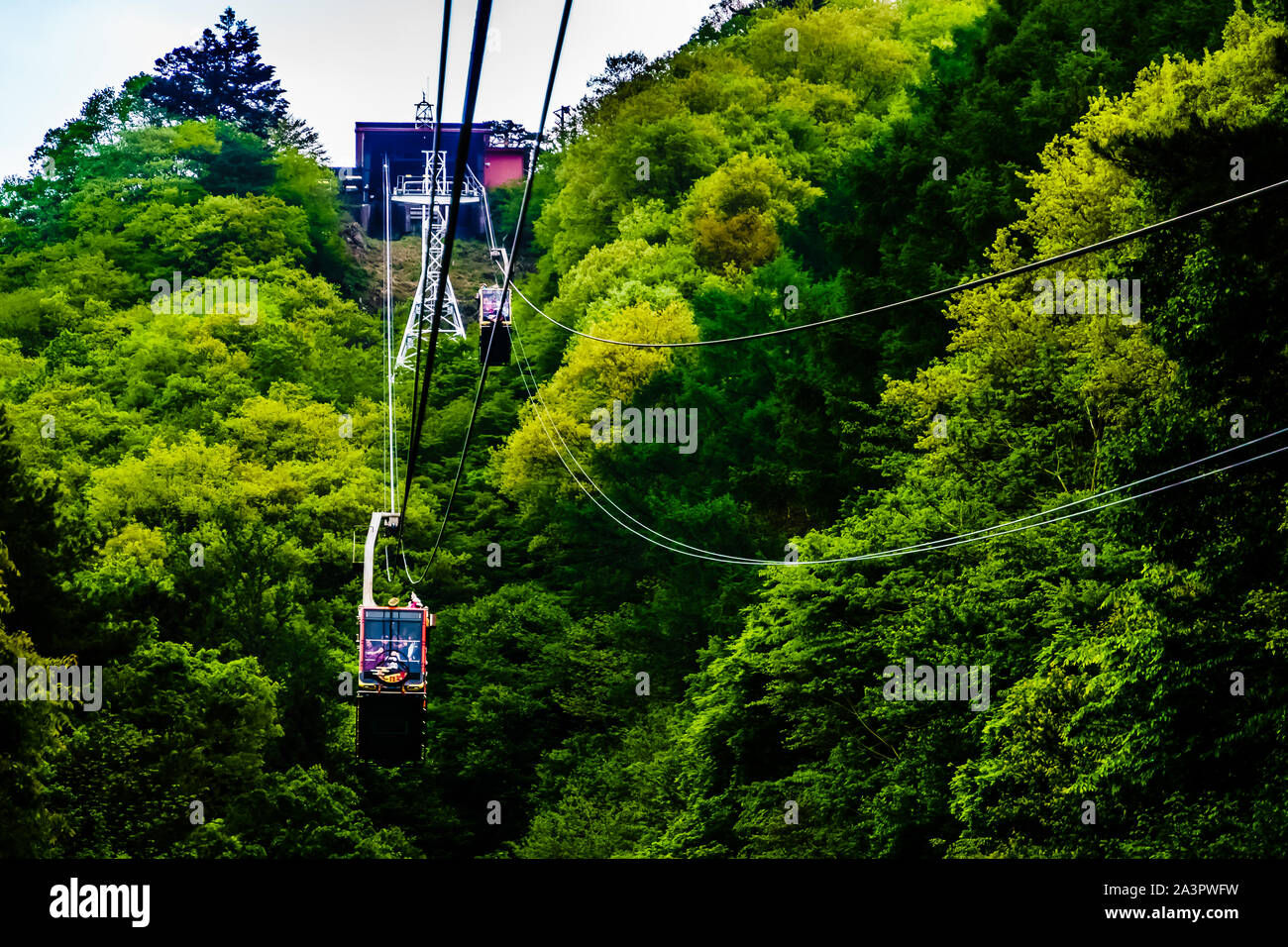 Tokyo, Japan - May 13, 2019: Mt. Kachikachi Ropeway to Tenjoyama Park. The cable car up to Tenjoyama Park, where you'll see a super view of Mt. Fuji. Stock Photo
