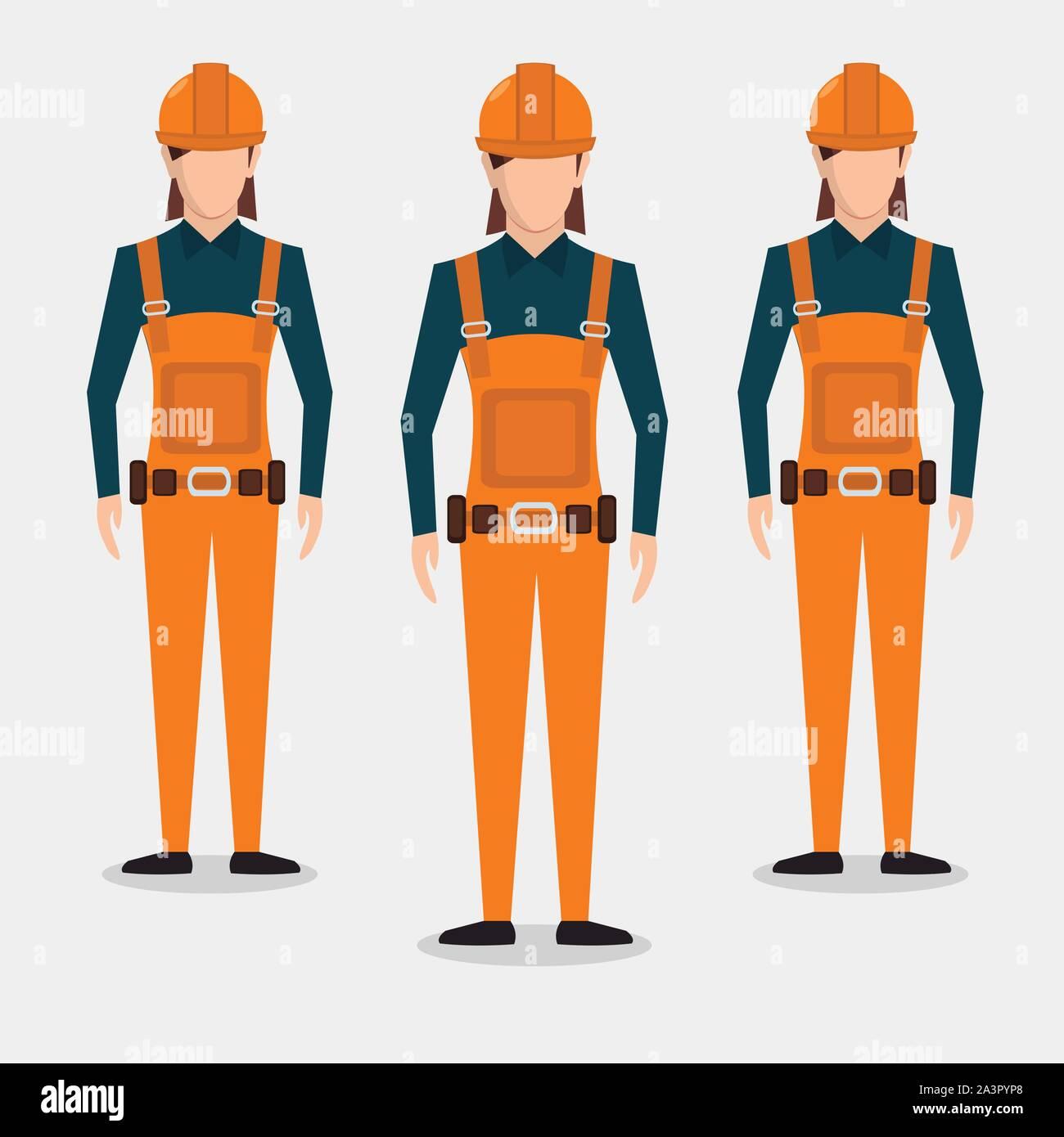 woman construction worker  vector illustration Stock Vector