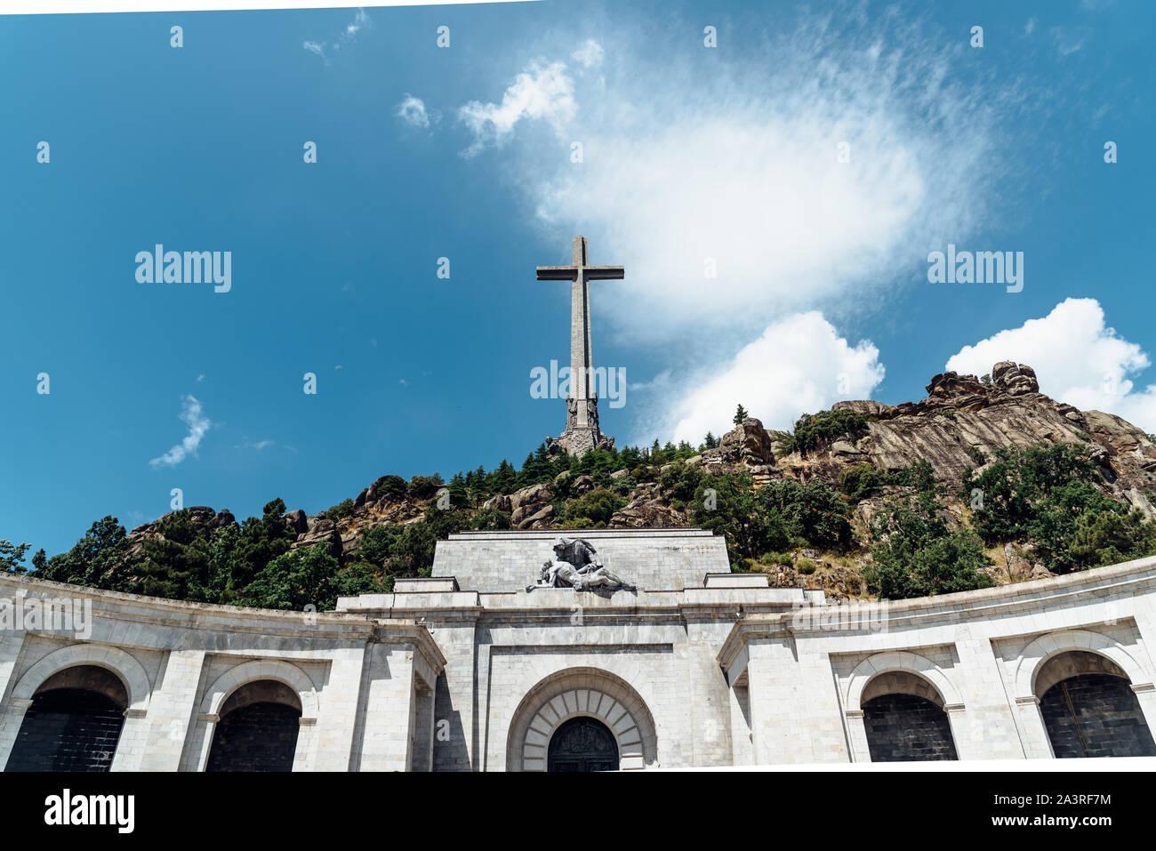 San Lorenzo de El Escorial, Spain - July 7, 2018: View of Valle de los Caidos or Valley of the Fallen. It was erected in the Mountain Range of Guadarr Stock Photo