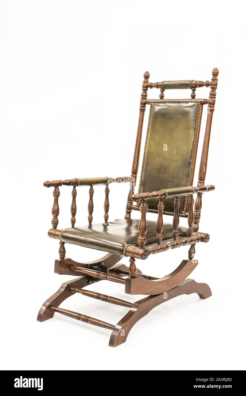 Beautiful old rocking chair on white background. Stock Photo