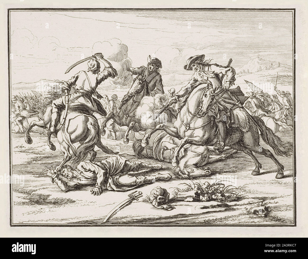 Engravings of horse battles and skirmishes in Europe in the 17th and 18th century. Stock Photo