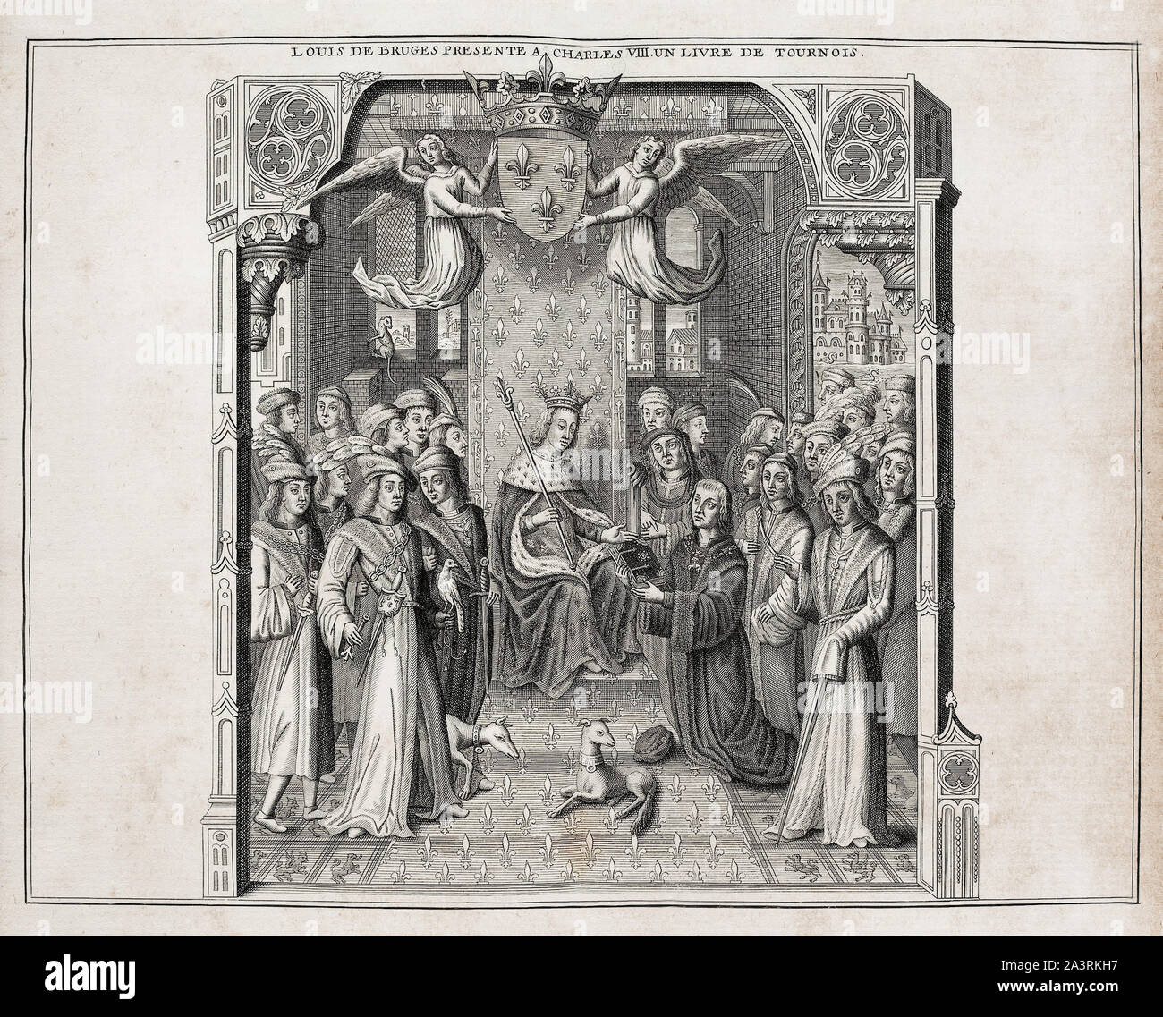 Louis de Bruges presents Charles VIII a book about  tournaments. Louis de Bruges, Lord of Gruuthuse, Prince of Steenhuijs, Earl of Winchester (1427 – Stock Photo