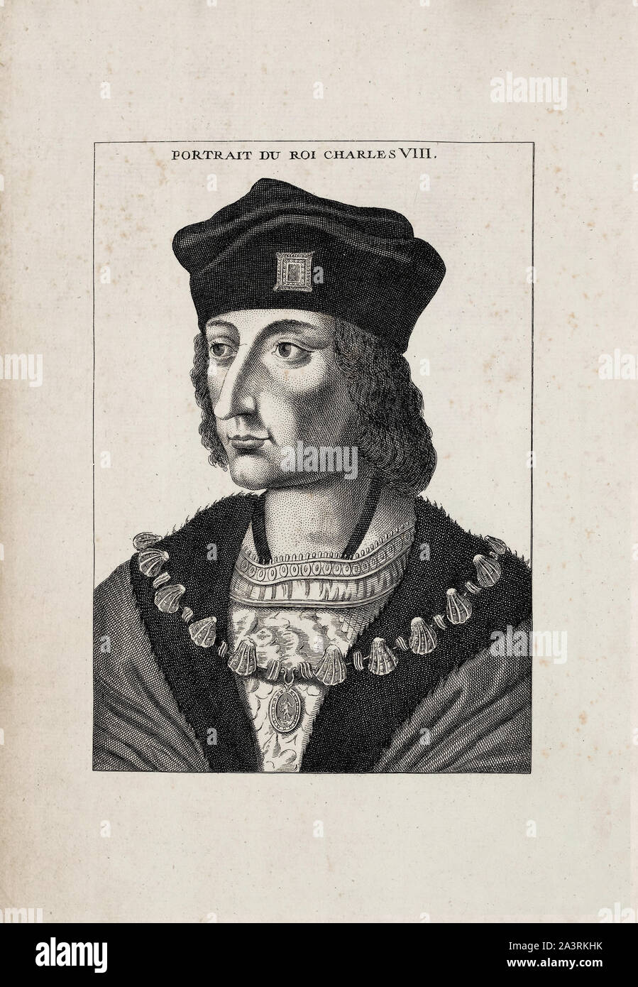 History of France. Charles VIII, called the Affable (1470 – 1498), was King of France from 1483 to his death in 1498. He succeeded his father Louis XI Stock Photo
