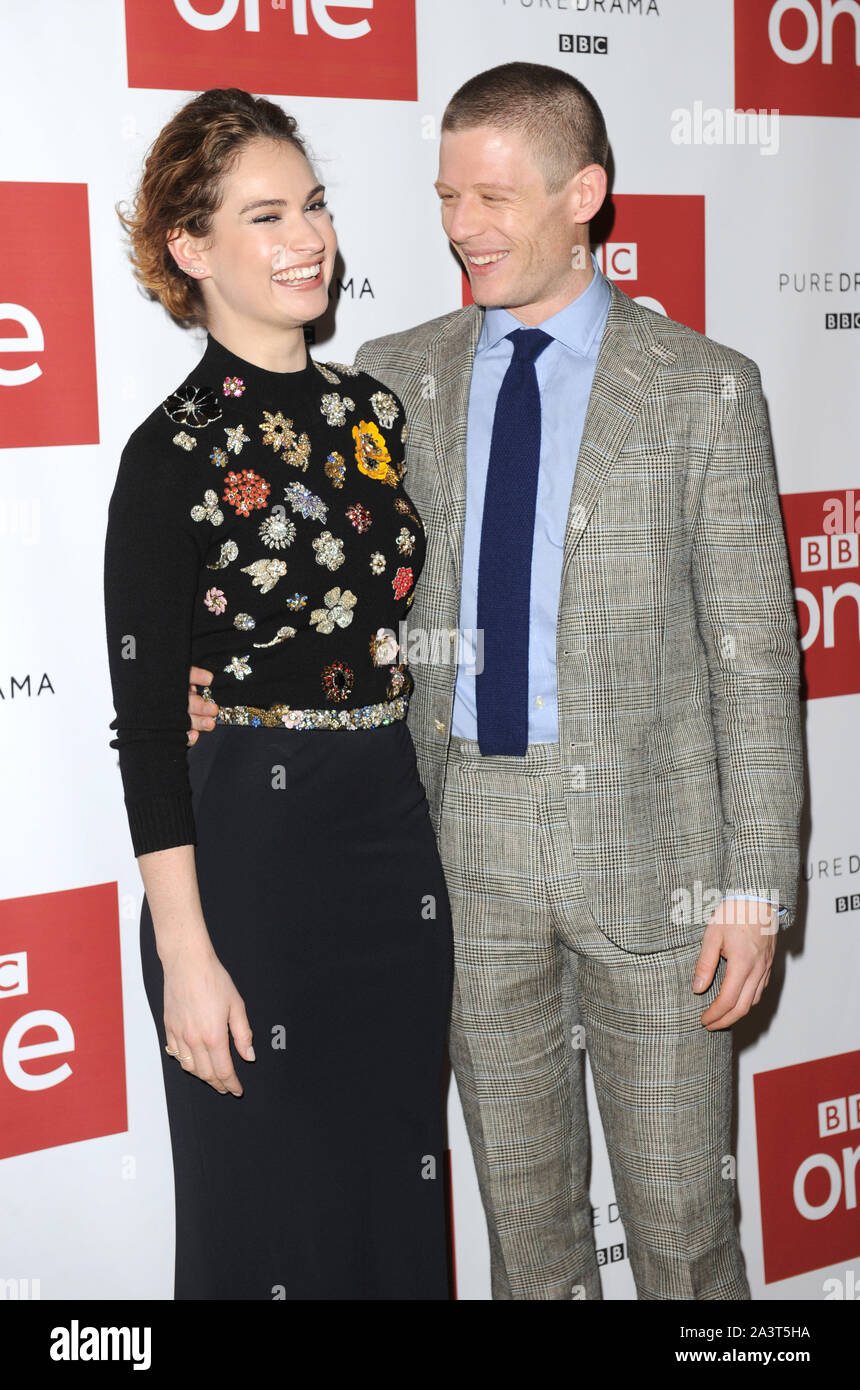 Photo Must Be Credited ©Kate Green/Alpha Press 079965 14/12/2015  Lily James and James Norton BBC One drama, War & Peace Photocall  The Mayfair Hotel London Stock Photo